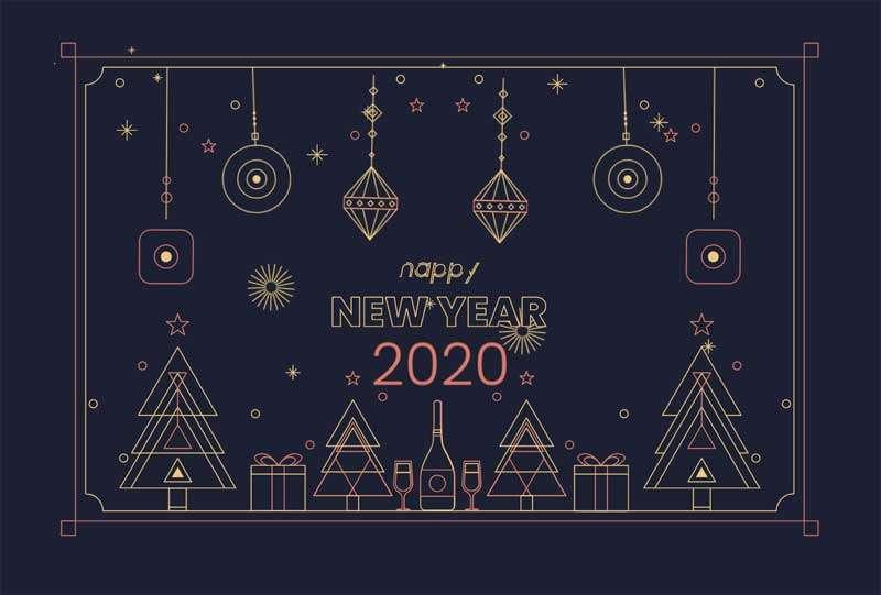 卡通2020新年快乐主题动画特效